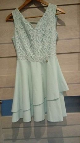 Wizytowa miętowa sukienka S