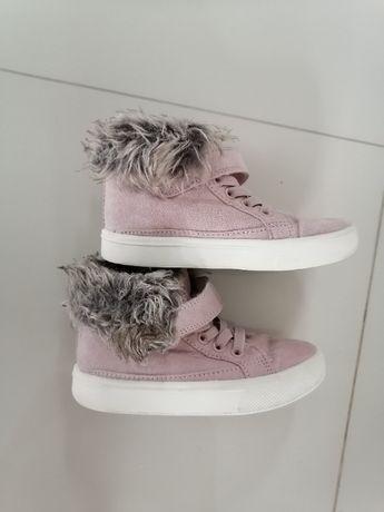 H&M buty zimowe różowe futerko r.25