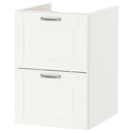 GODMORGON szafka pod umywalkę 2 szuflady, Kasjön biały 40x47x58cm