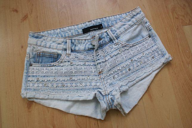 TALLY WEIJL jeansowe spodenki szorty koronka strzepione jeans XXS XS