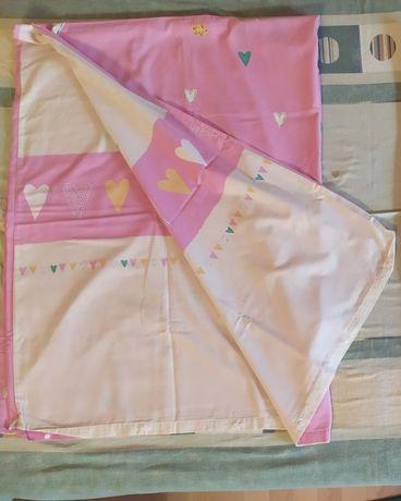 Poszwa dziecięca dla dziewczynki różowa serduszka