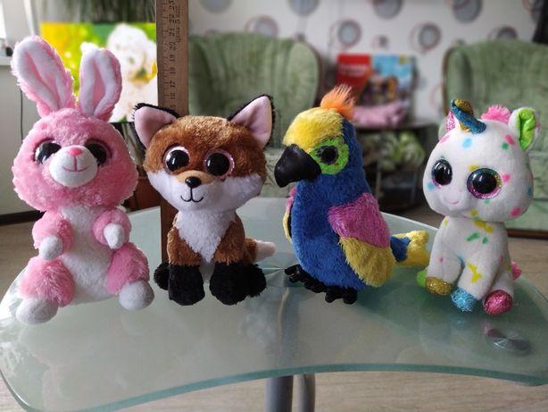 Единорог, попугай, лисичка, заяц
