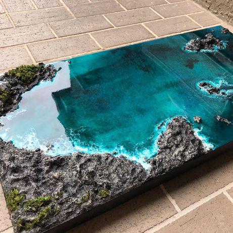 Stolik Kawowy Oryginalna 3D REAL Ocean skały Żywica epoksydowa