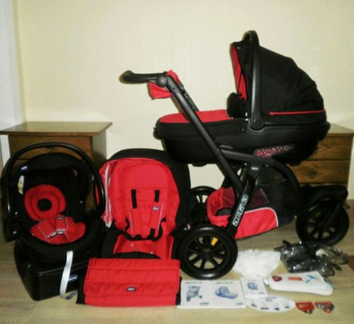 Chicco Activ 3 Trio коляска - внедорожник), красная с чёрным