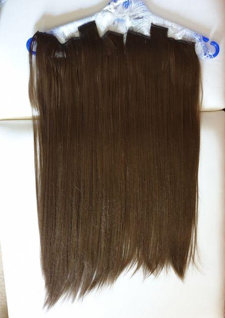 Искусственные прицепные волосы цвет Орех