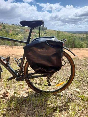 Alforge impermeável bicicleta + porta-bagagens roda traseira