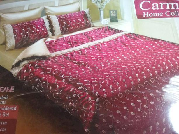 Белье постельное шелковое набор .простынь на резинке. Турция