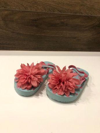 Japonki sandały kwiat różowe niebieskie gwiazdki 14 cm klapki