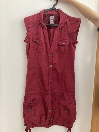 Vestido rosa-cereja Bershka, tamanho S