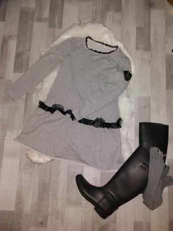 Tunika sukienka glamour szara tiul M