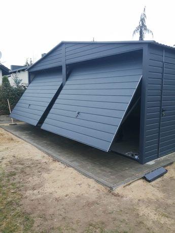 Garaż blaszany drewnopodobny nowoczesny premium solidny wzmacniany