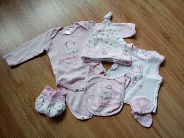 Komplet niemowlęcy 3-6mcy body bluzka śliniaczek czapka super cena