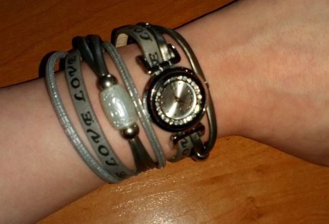 Modna szara bransoletka z zegarkiem, zegarek
