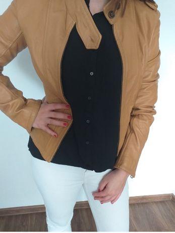 kurtka skórzana morgan skóra beżowa brązowa s m ramoneska jak nowa