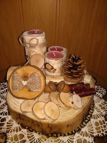Stroik, swiecznik drewniany recznie wykonany