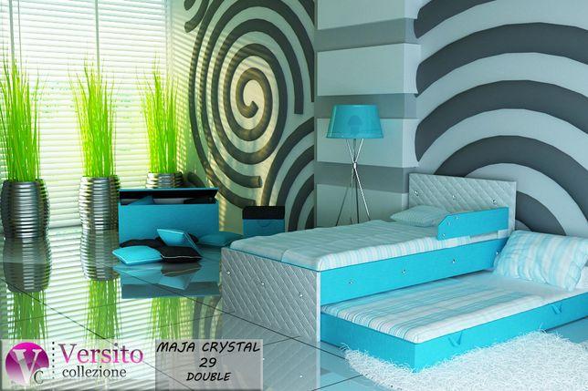 Łóżko piętrowe, wysuwane dla dzieci, biel-błękit+KRYSZTAŁKI -Lubartów