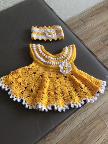 Вязанное платье для девочки, для фотосесии, крестин