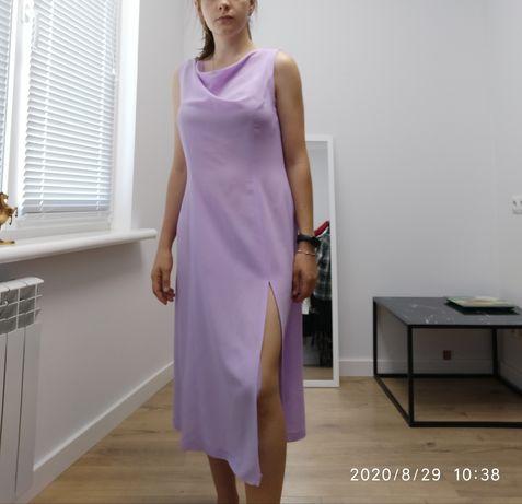 Нежно сереневое платье/сарафан с разрезом от бедра