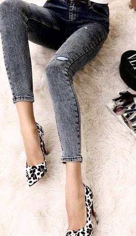 Jeansy do kostek wysoki stan elastyczne jak legginsy xs s