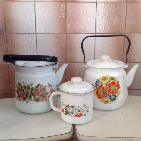 Чайник кружка эмалированные