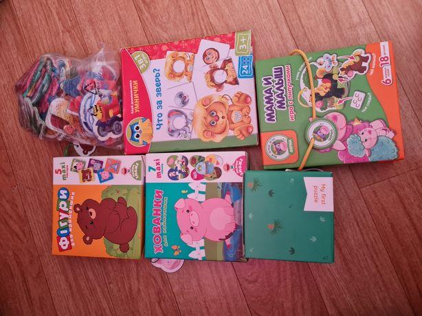 Набор игр для малышей пазлы, липучки,сортер, фигуры