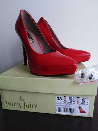Czerwone szpilki lakierowane, buty damskie rozm. 38