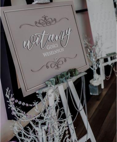 Tablica powitalna gości weselnych, ręcznie robiona, pudrowy róż