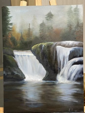 Картина маслом «Водопад», лес, туман