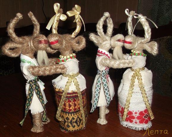 """Кукла мотанка """"Коза с ухажором"""" (пара) Подарок, сувенир."""