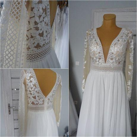 nowa suknia ślubna w stylu BOHO r. 38 z długim rękawem