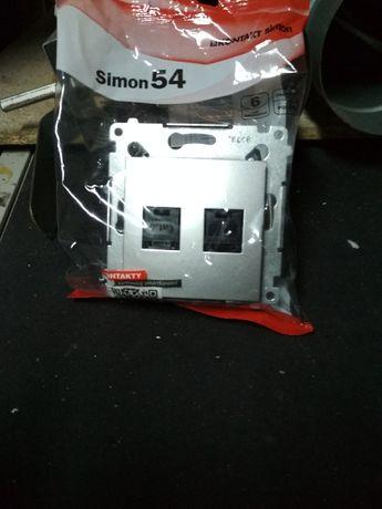 NOWE gniazda komputerowe podwojne Simon 54 premium srebrny mat