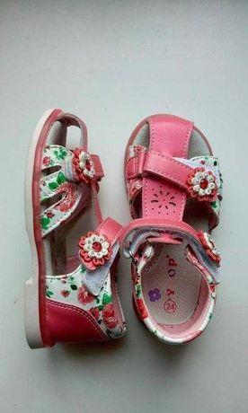 Сандалии босоножки кожаные коралловые розовые с цветочками ytop