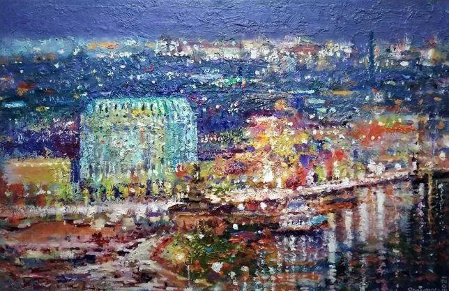 Картина Вечерний  Киев речной вокзал