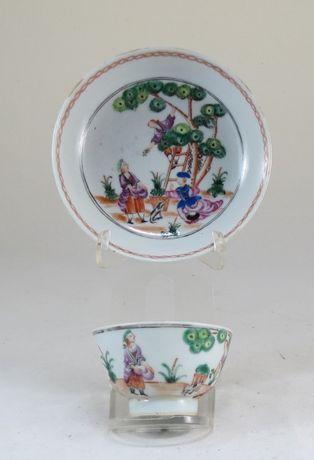 Taça+Pires porcelana chinesa dec Família Rosa Recolte des Cerises
