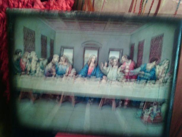 Quadro muito antigo com a mesa dos apóstolos