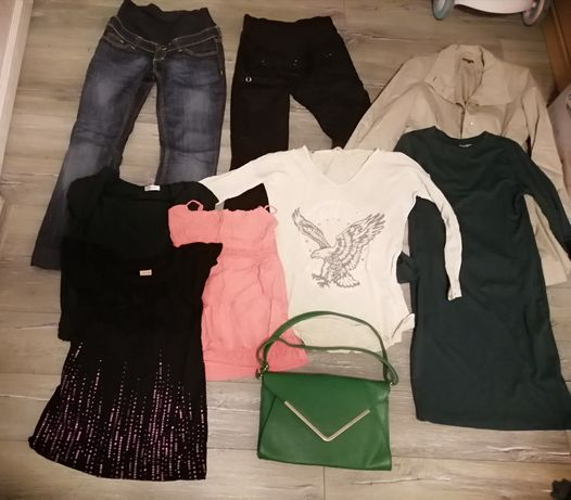 Spodnie ciążowe H&M Mama (2 pary) +ubrania ciążowe+torebka