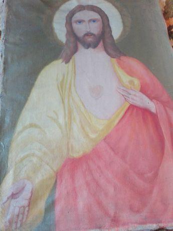 Stary obraz Pan Jezus płótno