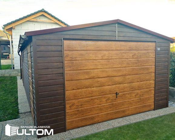 Garaż blaszany drewnopodobny 4x6 dwuspadowy KONSTRUKCJA Z PROFILI