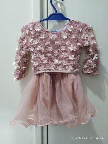 Sukienka kwiaty tłoczone tiul tiulowa balowa roczek