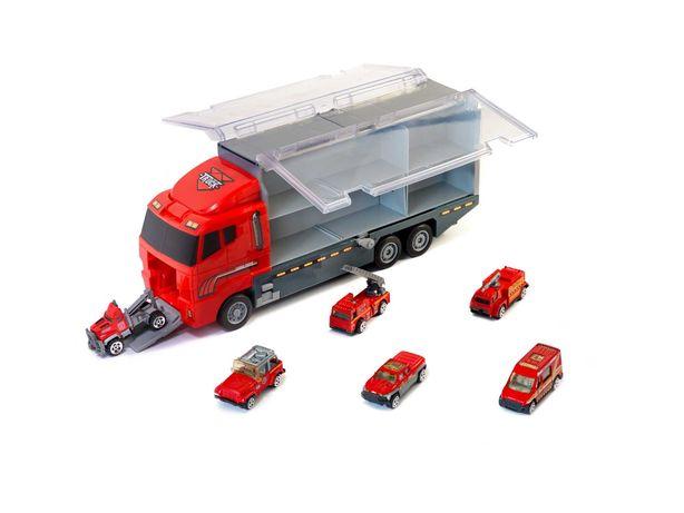 Ciężarówka Tir Transporter + Metalowe Auta Straż Pożarna