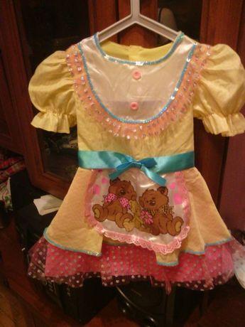 платье костюм карнавальный маша и медведи наряд 3-5 лет на утренник