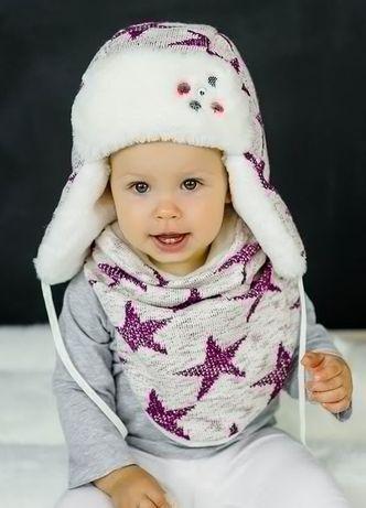 Зимова шапочка з снутом на шию