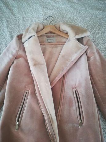 Casaco rosa com pêlo