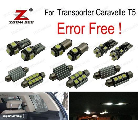 KIT COMPLETO DE 20 LÂMPADAS LED INTERIOR PARA VOLKSWAGEN ACCESORIOS TRANSPORTER CARAVELLE MK5 T5 20