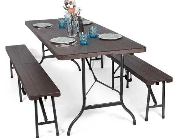 Park Alley Nowoczesny składany zestaw ogrodowy stół+dwie ławki brązowy