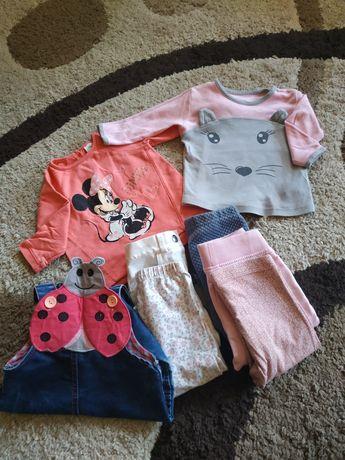 Zestaw dla dziewczynki 74 - spodnie, bluzki, ogrodniczki