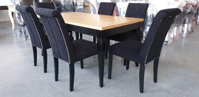 Krzesło pikowane czarne glamour nowoczesne do salonu restauracji nowe