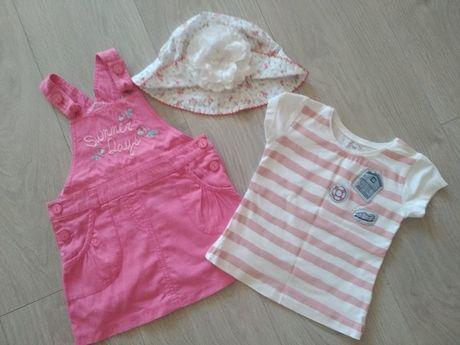 Сарафан Бемби, футболка, панамка р. 48 для девочки на 1,5 года