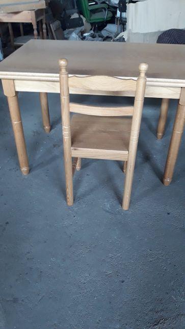 Mesa de cozinha em carvalho com abas extencivas com 6 cadeiras