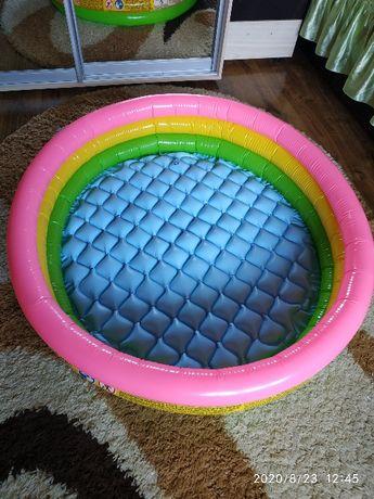 Надувной детский бассейн 100 см с надувным дном